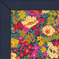 Wool Quirky B Liberty Fabric Garden Rug with Navy Cotton border