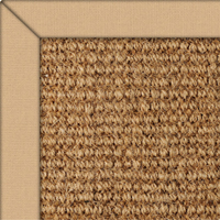 Coir Boucle Natural Rug with Bamboo Cotton border