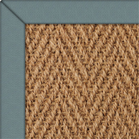 Coir Herringbone Natural Rug with Bluebird Herringbone border