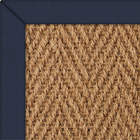 Coir Herringbone Natural Rug with Navey Herrringbone border