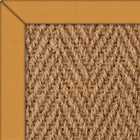 Coir Herringbone Natural Rug with Ochre Cotton border