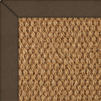 Coir Pananma Natural Rug with Flux Leather Mocha border