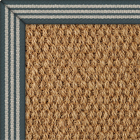 Coir Panama Natural Rug with Stripe Thick Teal border