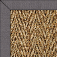 Seagrass Herringbone Natural Rug with Linen Seal border