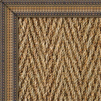 Seagrass Herringbone Natural Rug with Rainbow Bleu border