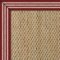 Seagrass Superior Natural Rug with Stripes Red border